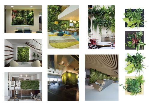 green-wall-collage